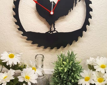 "Rooster Steel Wall Clock 12"" Black Textured Saw Blade Metal Wall Art"
