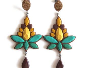 Big Earrings, Huge Earrings, Jade Green Earrings, Jungle Green Earrings Honey Yellow Earrings Mustard Yellow Earrings, Amber Yellow Earrings