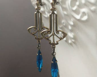 Blue Flapper Earrings - Art Deco Jewelry - Art Deco Earrings - Miss Fisher Jewelry - 1920s Jewelry - Great Gatsby Jewelry - Womens Jewelry