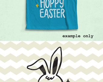 Hoppy Easter, cute  fun happy Easter bunny rabbit digital cut files, SVG, DXF, studio3 files instant download, diy vinyl decals