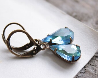 grace kelly. earrings. (soft light blue. fire yellow. vintage czech glass rinestone jewels. faceted teardrop gem. antique brass. leverback.)