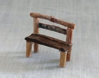 Fairy Miniature Rustic Bench WithTree Twigs And A Wood Bark Seat