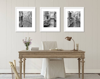 SALE, Venice Prints, Black and White Prints, Italy Photography, Set of 3 Prints, Italy Prints, Canals, Travel Decor, Vertical Wall Art Print