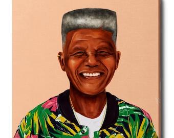 "Epic Grafitti ""Nelson Mandela"" by Shimoni Illustrations, Giclee Canvas Wall Art"