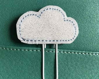 """Sweet little Feltie - Paperclip, Bookmark """"Cloud"""", glittering"""
