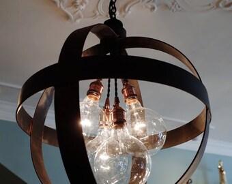 Medium Steel Band Sphere Chandelier Pendant in Aged Zinc or Black Finish