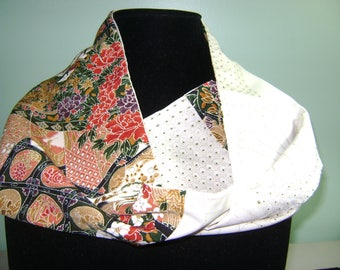 Patchwork Boro Silk Infinity Fall Scarf with Beautiful Floral Patterns