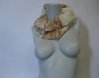 White and Brown Organic Cotton Infinity Scarf
