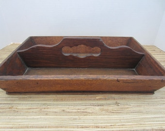 Antique Wood Cutlery Caddy/Antique Wood Box/Divided Box/Wood Storage/Primitive Caddy/