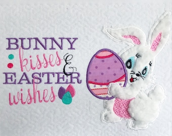 Easter bunny holding egg Applique design and bunny kisses & Easter wishes Embroidery Saying- INSTANT DOWNLOAD Digital File