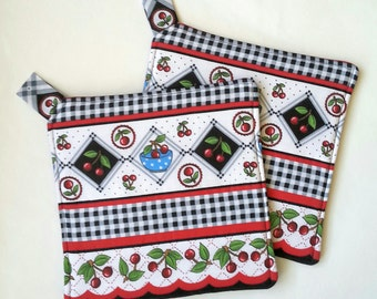 Cherry Potholders Hotpads Quilted Kitchen Handmade Cherries Fruit Theme Fabric Design White Black Red Spring Home Decor Birthday Gift Mom