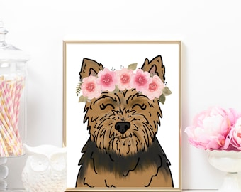 Floral Crown Yorkie Art