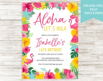 Luau invitations etsy aloha luau invitation invite birthday girl any age 16th summertime tropical hawaiian hula digital 5x7 personalized stopboris Images