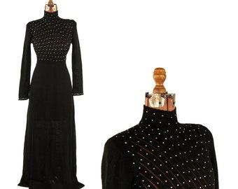 Vintage 1970's Palena Black Rhinestone Studded Sheer Knit Sweater Maxi Evening Dress S