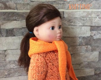 Orange hooded scarf with tassels for doll Corolla 35 cm