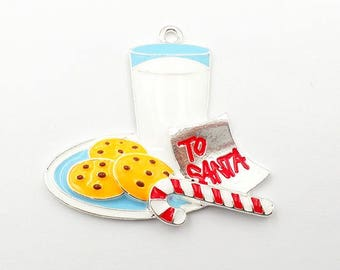 45*37mm, Santa Cookies, Enamel Pendant, Cookies Pendant, Santa Pendant, Christmas Pendants, Cookies and Milk, Chunky Necklace Beads