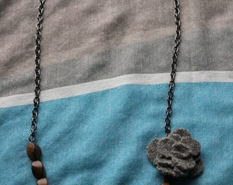 Wood and gray felted wool flower necklace