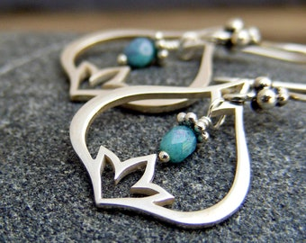 Sterling Silver Lotus Earrings with Turquoise Bead, Yoga Jewelry, Turquoise Earrings
