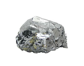 Galena Metallic Crystal Cluster with Golden Chalcopyrite Druzy Shiny Silvery Ore Mineral Specimen