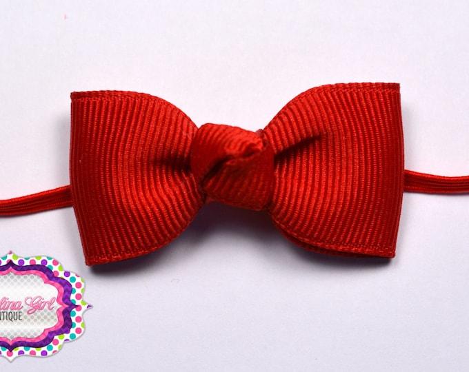 Red Newborn Headband - Small Headband Red Tiny Bow on Skinny Elastic - Girls Hair Bows