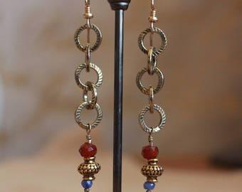 Carnelian and Tanzanite earrings w/14 karat gold earwires
