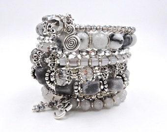 Beaded wrap bracelet, gemstone bracelet, memory wire bracelet, charm bracelet, ohm bracelet, chakra bracelet, healing crystal bracelet