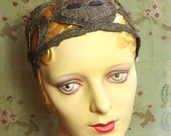 Antique 20s flapper millinery hat trim hatband metal lace cabochon trim for cloche bonnet 1920s gatsby party rich