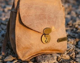 Leather backpack / Backpack / Brown leather bag / Rustic Leather Bag / School Bag / women Leather Bag / cross body bag