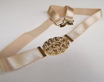 ON SALE. Champagne elastic waist belt. Gold filigree belt. Bridal belt. Bridesmaids belt. Nude belt. Dress belt. Golden belt. stretch belt.