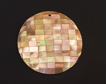 Round Shell Pendant, Inlaid Pendant, Large Shell Pendant Brownlip Mosaic 50mm round