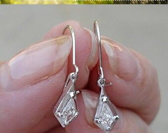 0.26 Carat Unique Custom Cut Diamond Dangle Drop Earrings - 14K White Gold - One of a Kind