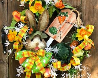 Bunny Easter Wreath, Easter Wreath, Carrots Wreath, Cabbage wreath, Easter Decor, Easter Grapevine Wreath, Door Decor, Spring Wreath