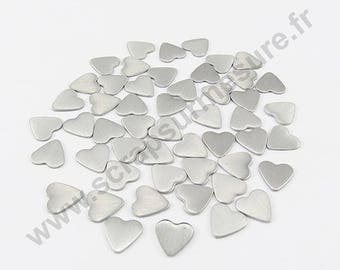 Heart Thermo - matte silver - 8mm - x 50pcs