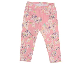 Pink Cherry Blossom Floral Baby Leggings Toddler Leggings Girl Leggings Pink Floral Leggings Girl Baby Pants Leggings Cherry Blossom Baby