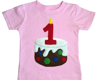 Kids Birthday Shirt - Age Number Candle on a Birthday Cake - Custom Made Kids Shirt - 5th 4th 3rd 2nd 1st Birthday T- Shirt