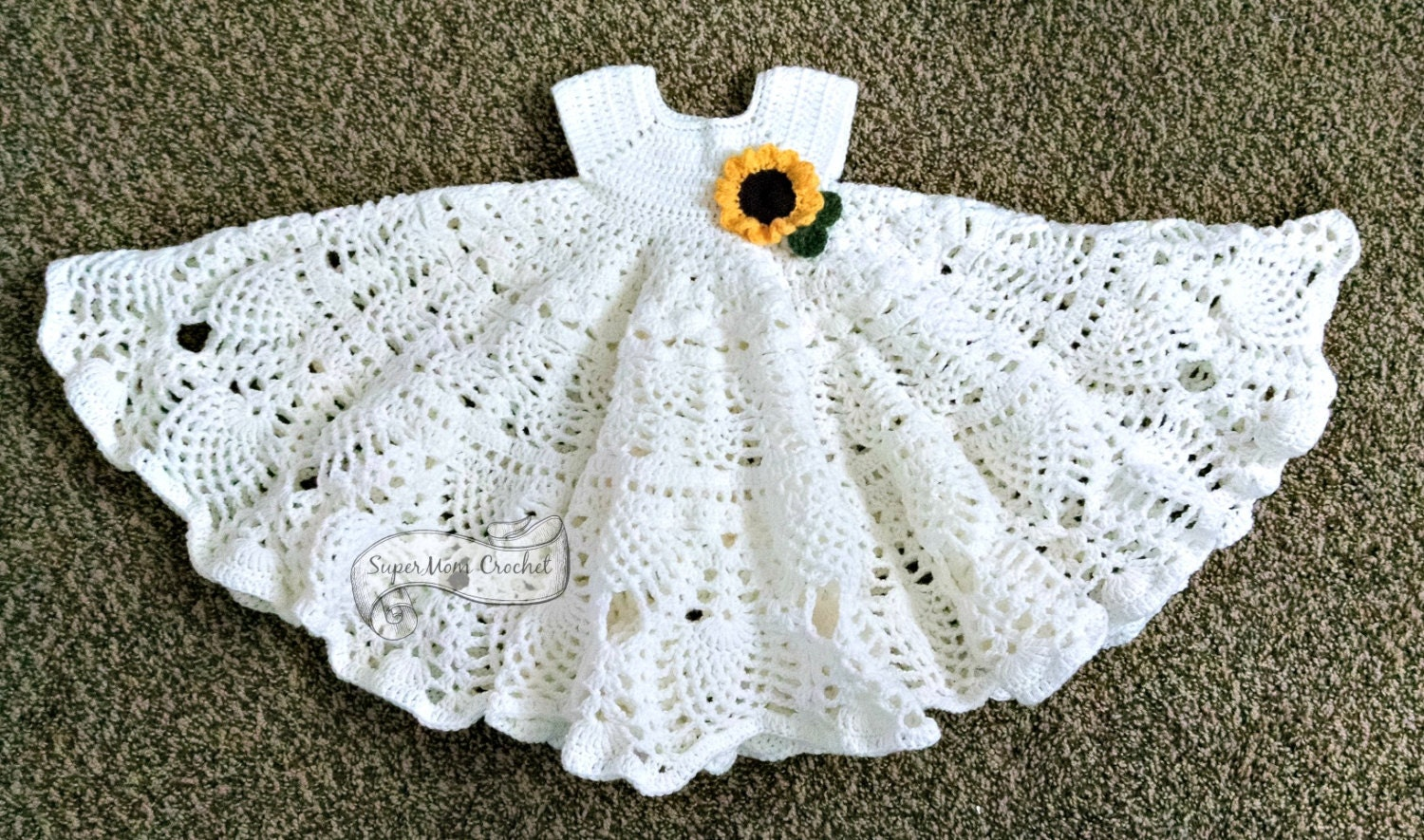 Pineapple Lace Crochet Baby Dress Pattern from SuperMomCrochet on ...