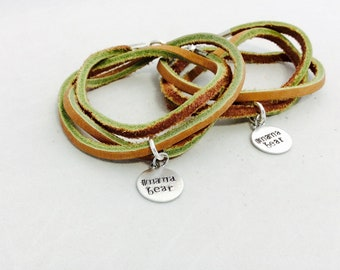 Leather Wrap bracelet-Mama Bear