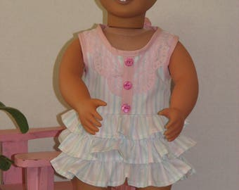 """Flirty Summer Dress for 18"""" Dolls. Made in USA fits American Girl, Our Generation Dolls"""