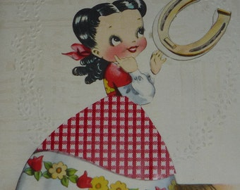 A Lucky Charm for Mother's Day Vintage 1940s Greeting Card