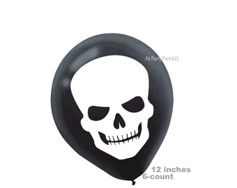 skull balloons, Halloween party decorations, creepy skulls, skeleton, scary halloween supplies, spooky, black, white, latex