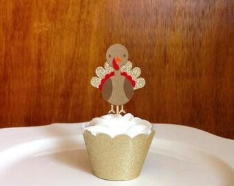 Thanksgiving Cupcake Toppers, Fall Cupcake Toppers, Turkey Cupcake Toppers, Thanksgiving Decor, Gold Cupcake Topper, Turkey Decor