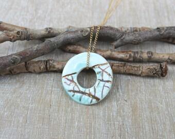 Gold porcelain necklace, ceramic fine necklace, gold blue necklace, minimalist necklace, gold filled necklace, circle pendant necklace,