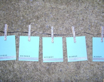 light turquoise . blue . silver glitter . wishes sentiment . tags . 30