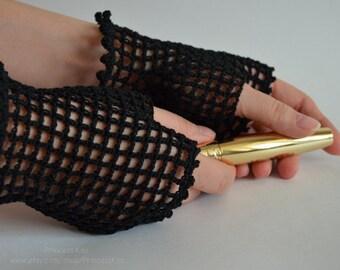 Black Crochet Lace Mittens, Fingerless Gloves  for women,  Gothic, Vampire, Victorian, Prom, Bridal