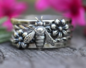 Silver Stacking Ring Set Sterling Silver Stacking Rings Stackable Rings Sterling Silver Rings Bee Ring Bee Jewelry Sterling Flower Ring