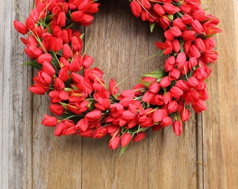 Spring Wreath, Tulip Wreath, Front Door Wreath, Floral Wreath, Tulips, Red Tulips, Red Wreath, Spring Decor, Red Tulip Wreath, Door Wreath