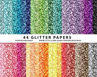 """Glitter Digital Paper Pack 12"""" x 12"""" Commercial & Personal Use gold silver christmas rainbow no credit printable 44 sheets INSTANT DOWNLOAD"""