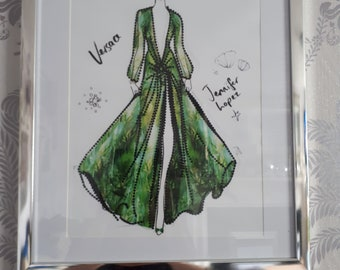 Large-Hand beaded Versace Green Goddess Inspired Picture
