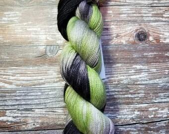 Hand dyed yarn lace weight yarn extra fine merino silk yarn indie dyed yarn 100g 875 yards variegated yarn