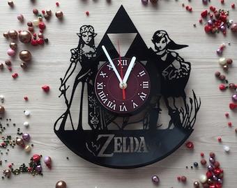 The Legend Of Zelda Vinyl Record Wall Clock Size 12 inches / 30 cm zelda decor gifts idea zelda art for kids bedroom